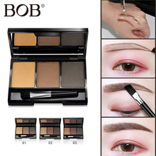 BOB Brand Eyebrow Powder Palette Shade For eyebrows Enhancer Focallure Palette Professional Waterproof Brow Makeup Brown Eyebrow(China)