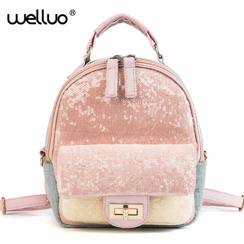 1f254e8a82 Sequins Backpack Women Fashion Teenage Girl Glitter Mini Leather Travel School  Bags Colorful Shining Back pack