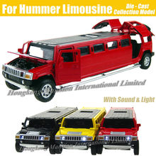 1:32 Scale Alloy Metal Diecast Car Model For Hummer Limousine Luxury Truck Collection Model Pull Back Toys Car With Sound&Light(China)