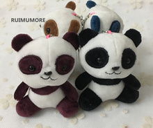 Super HOT 4Models - SIZE 10cm Panda Plush Stuffed Toy , Gift Key Clip Pendant TOY Wedding Bouquet Gift Plush DOLL(China)