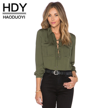 HDY Haoduoyi 2017 Fashion Ladies Office Shirts Lace Up Long Sleeve Pockets Solid 2 Colors Tops Slim Straps Cross Front Blouses