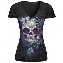 Buy Skull Print T-Shirt Causal Women Short Sleeve V-Neck Punk Style Skull Print T-Shirt Tee Tops Women Clothing Dropshipping#1221 for $7.28 in AliExpress store