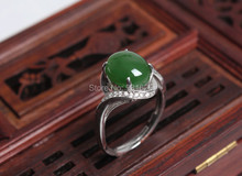 Natural genuine HeTian Jade Inlay 925 Silver Lucky Ring + certificate Green Jade Rings Fashion Woman Man's Jewelry adjustable