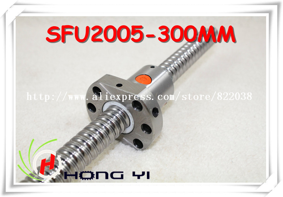 2005 Ball screw SFU2005 300mm with single ball nut 2005 with  end machined CNC parts 20mm ballscrew<br>