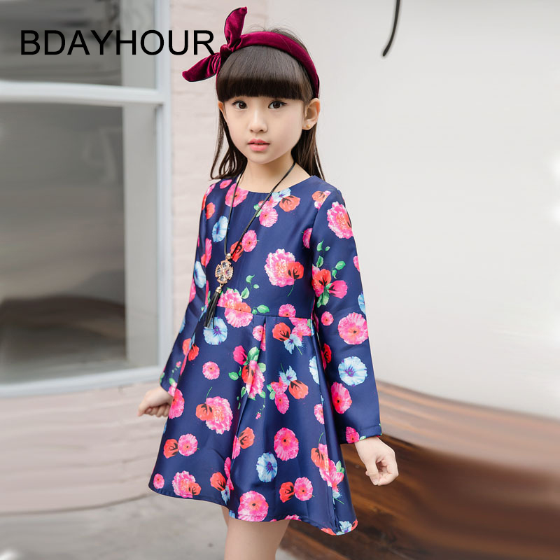 Spring New ChildrenS Clothing 2017 Fashion Flowers Printing Korean Long-Sleeved Round Neck Girl Cute Knee-Length Princess Dress<br><br>Aliexpress