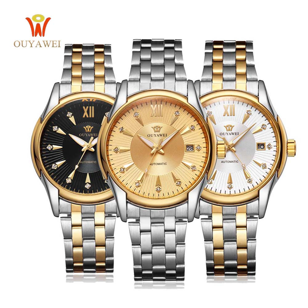 OUYAWEI Automatic Skeleton Watch Mens Wrist Watch Sport Full Steel Mechanical Watch Montre Homme Men Wristwatches<br>