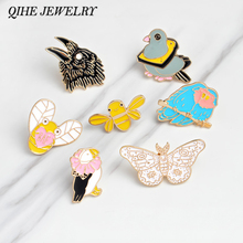 QIHE JEWELRY Brooches & pins Eagle butterfly bee duck bird Animal brooch Animal pins collection Hard enamel jewelry