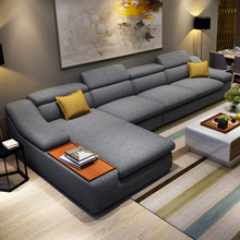 living room furniture modern L shaped fabric corner sectional sofa set design couches for living room with chaise longue ottoman
