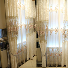 European-style embroidery tulle Ice velvet sheer curtains for living room custom without Blackout Lining curtain 001(China)