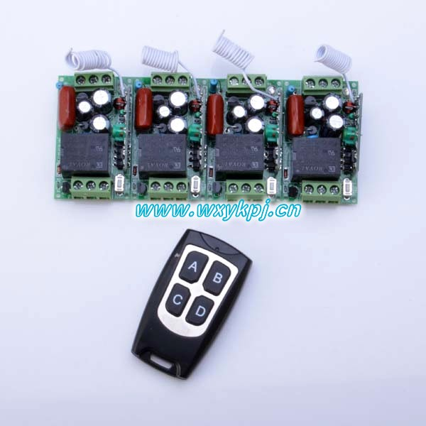 220V AC Mini Remote Switch AC 220V 10A Learning Code RF Wireless Switch Radio 1 Transmitter 4 Receiver<br><br>Aliexpress