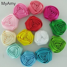 MyAmy 100pcs/lot 1.8''-2'' Satin Rolled Rosettes Kids Boutique Rose Flowers Girls Shoes/ Clothing /Hair Acessories Free Shipping