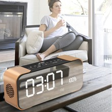 TOPROAD Portable Bluetooth Speaker with FM Radio Time Alarm Clock TF card Aux in MP3 player Mirror LED Stereo PC Phones Speakers