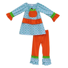 2016 New Arrival Boutique Girls Festival Clothing Pumpkin Cotton Top Orange Ruffle Pants Baby Girls Halloween Outfits H005