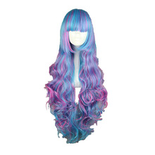 MCOSER 80CM Women's Cosplay Party Synthetic Wigs Blue AND ROSE RED Mixed Full Party Hair 100% High Temperature Fiber WIG-511C