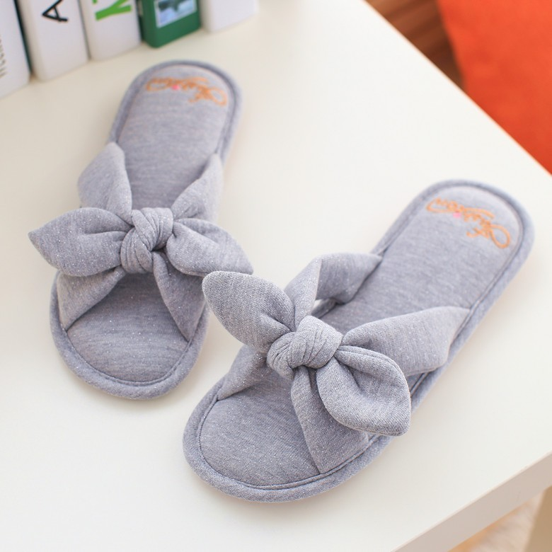 2017 New Spring/Winter Women  Slippers Bowtie Cotton Slippers Indoor Shoes Rubber Non-Slip  Breathe Home Slippers Pink Grey Blue<br><br>Aliexpress