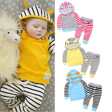 2017 Newborn Baby Clothes set stripes baby girls clothes Hooded Top Pant 2pcs baby boys clothes Bebes Unisex baby Clothes set