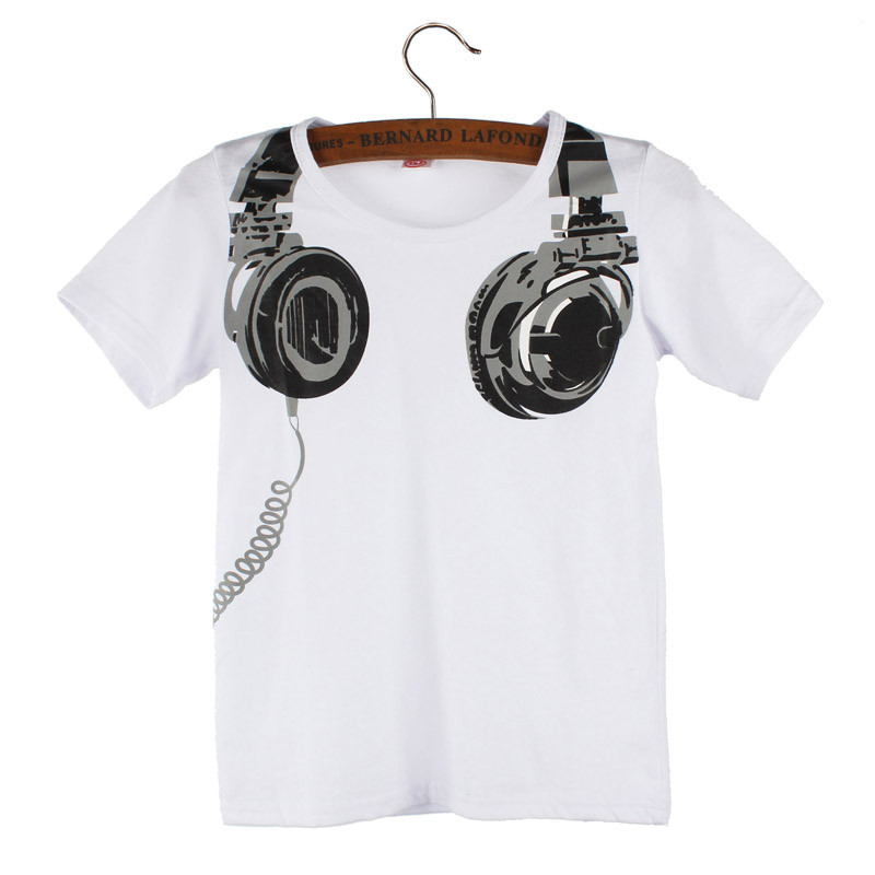 Toddler Boy Headphone Print Children T-shirts 19