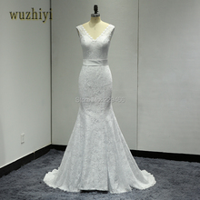 wuzhiyi Robe De Mariage Mermaid Wedding dress Custom made Bridal gowns Lace up Plus size wedding dress 2017 Vestide de Novias(China)