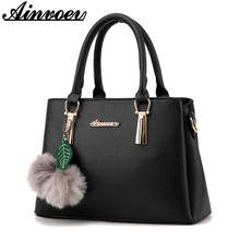Ainvoev women Tote bags Brand Luxury Designer PU Leather Handbags Fur Ball ladies Messenger shoulder mother money Bags hot A1609(China)