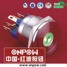 ONPOW 22mm flat momentary dot illuminated pushbutton switch GQ22PF-11D/G/12V/S