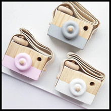 INS 6 color Baby Kids Cute Wood Camera Pillow Children Fashion Clothing Accessory Room Decor Wooden Camera(China)