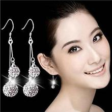 New Style Two Handmade Disco Ball Beads Crystal Shamballa Earring,Fashion Round Czech Zircon Silver Plated Long Earrings 1Y032