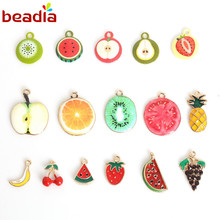 Lovely Enamel Metal Alloy Fruit Charm Pendants Different Size 3-5pcs/bag For DIY Earring Bracelet Necklace