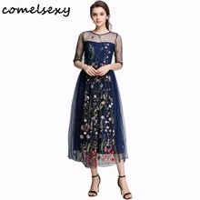 Buy 2017 Spring Summer New Embroidery Dresses Beach Mesh Women Black Floral Sexy Fashion Vintage Party Long Dress Vestidos mujer for $30.00 in AliExpress store