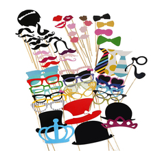 60Pcs/Set Photo Props Moustache Hat Eyes Lips Bachelorette Party Birthday Wedding Joy Decoration Birthday Party Decorations Kids