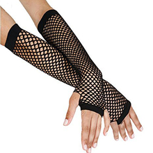 1Pair New Arrival Goth Punk Black Fishnet Long Stretchy Above Elbow Fingerless Gloves Arm Warmers