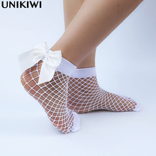 Chic Women's Harajuku Breathable White Bow knot Fishnet Socks.Sexy Hollow out Mesh Nets Socks Ladies Girl's Lolita Style Bow Sox(China)