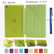 Smart case for apple Ipad mini 1 2 3 flexible soft tpu silicone back cover PU leather case high quality + one stylus gift