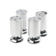 4pcs Stainless Steel Kitchen Adjustable Feet Round Furniture Legs Adjuster Foot (Silver)