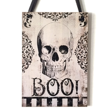 Halloween Holiday Supplies Rustic Wooden Plaque Skull Wall Sign Haing Board Halloween Party Night Club Bar Decoration Favor Gift