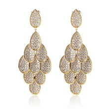 Leaf dangle earing fine Women 2017 new Arrival Luxury jewelry White and Gold Chandelier Earrings for Wedding