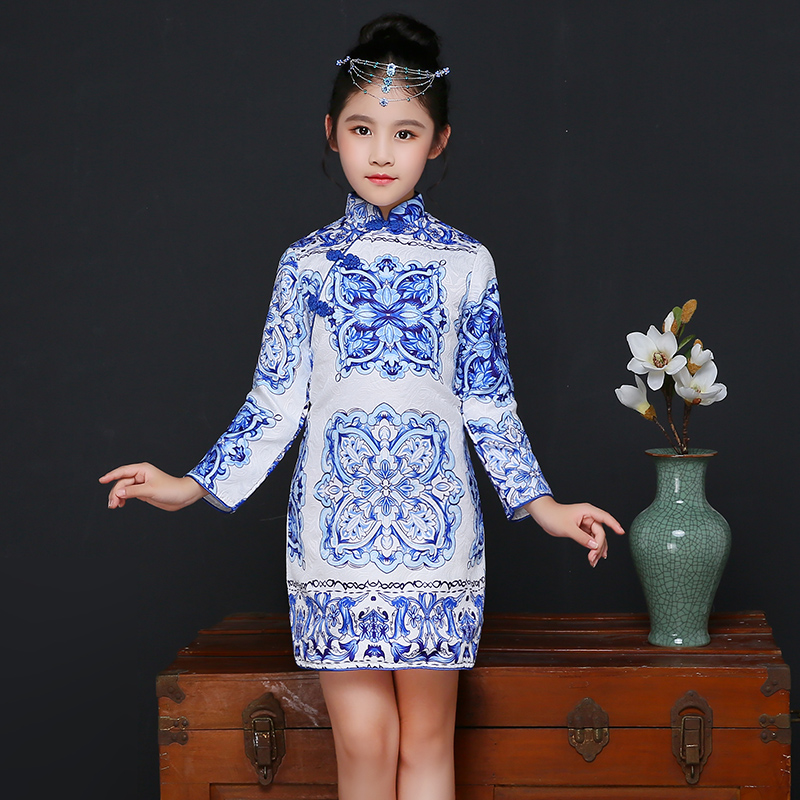 2017 winter girls traditional chinese formal dress qipao cheongsam dresses sleeved wedding top quality blue tile girls clothes<br>
