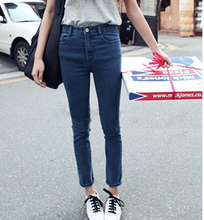 free shipping 2015 new spring and autumn Plus Size elastic slim denim blue pencil long design women jeans