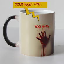 Custom your name on walking dead Zombie Color Changing Coffee Mug Heat sensitive Magic Tea cup mugs I am here now WOW!!!(China)