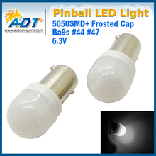100pcs 906 Ba9s #44 #47 6.3V Frosted Pinball led Light 5050LEDs Super White Replacement Pinball game mechine Bulbs