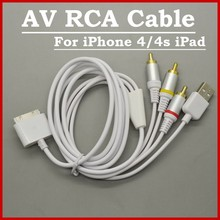 3 IN 1 TV RCA Video Composite AV Cable +USB Cables For iPhone 3G 3GS 4 4S iPad 2/3/4