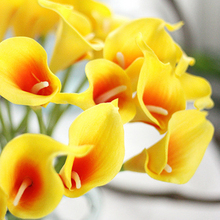 30pcs/lot Beautiful Mini Calla Lily Artificial Flowers Real Touch Wedding Home Decor 9 Styles