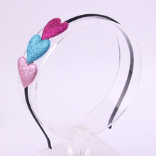 201 7Fashion Newest arrival high quality hair accessories Ribbon colors Pu leather brilliant love heart hairbands for girls(China)