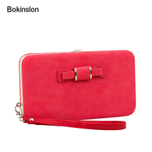 Bokinslon Woman Wallet Long Section PU Leather Bowknot Girls Brand Purse Popular Practical Ladies Hand Wallet(China)