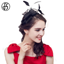 FS Black Brand Wedding Dress Hats Elegant Female Vintage Feather Design With Bow Bride Pillbox Hat Headdress(China)