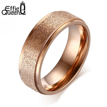 Effie Queen New Trendy High Quality Titanium Steel Women Finger Ring Romantic Rose Gold-color Luxury Frosted Rings WTR225