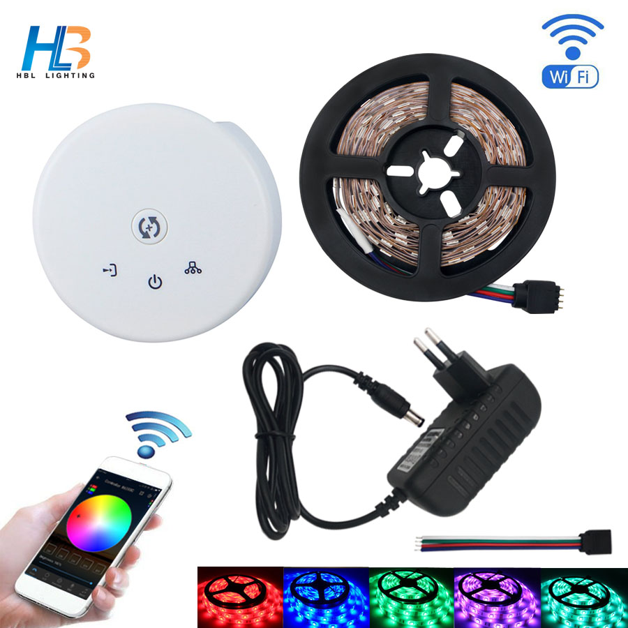 HBL RGB led strip light Non waterproof 4M 5M 5050 led bande IP20 IP65 8M led ribbon +UFO WIFI controller kit for home decoration<br>