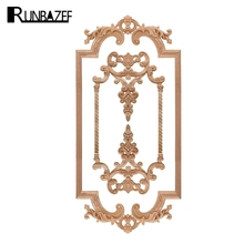 RUNBAZEF The New Listing Wood Carving Angle Flower European Style Lattice Background Wall Applique Home Decoration Accessories(China)