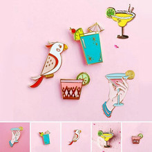 Hot Beach Style Cute Parrot Birds Summer Drink Metal Brooch Kid School Cartoon Pins Button Pins For Women Girl Jewelry