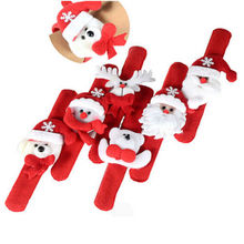 Christmas Patting Circle Bracelet Watch Xmas Children Gift Santa Claus Snowman Deer New Year Party Toy Wrist Decor 1Pcs