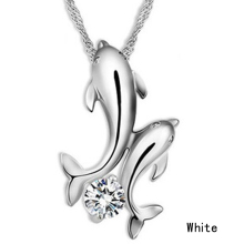 Women's Fashion Cute Silver Plated Double Dolphin Rhinestone Short Chain Pendant Necklace Jewelry
